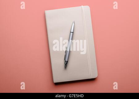 Draufsicht der alten offenes Buch mit Füllfederhalter auf rosa Hintergrund - Stockfoto
