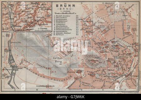 BRNO (BRUNN BRÜNN) Vintage Stadt plan Mesta. Tschechische Republik Mapa, 1929 - Stockfoto