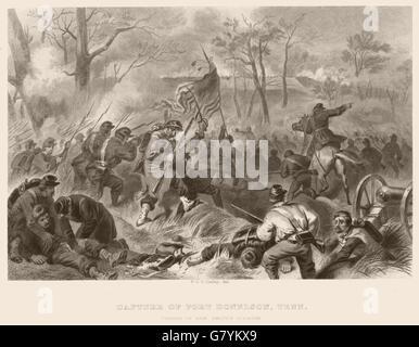 UNS BÜRGERKRIEG. Erfassung von Fort Donelson, Tennessee. Gen Sie Smiths Div kostenlos, 1864 - Stockfoto