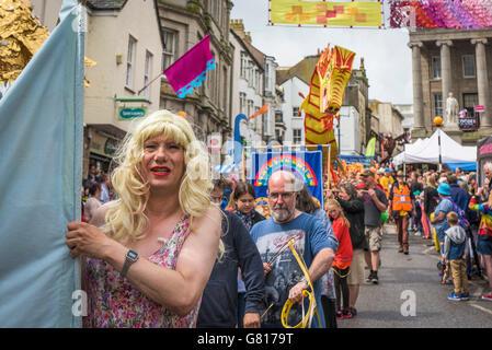 Die Mazey Tag feiern in Penzance, Cornwall. - Stockfoto