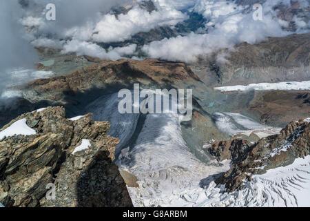 Gletscher unten Klein Matterhorn, Zermatt, Schweiz - Stockfoto