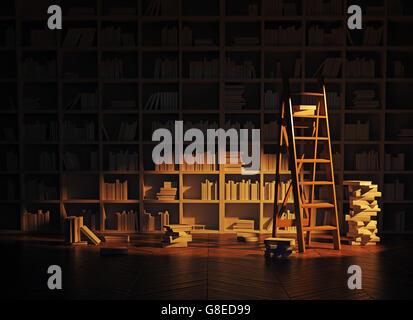 nächtliche Beleuchtung im Innenraum Bibliothek. 3D-Rendering - Stockfoto