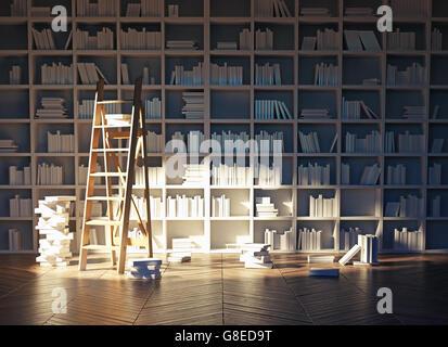 Sonnenlicht in das Innere der Bibliothek. 3D-Rendering - Stockfoto