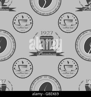 Satz von Vintage Kaffee unter dem Motto monochrome Etiketten. Nahtlose Muster. Vektor-illustration - Stockfoto