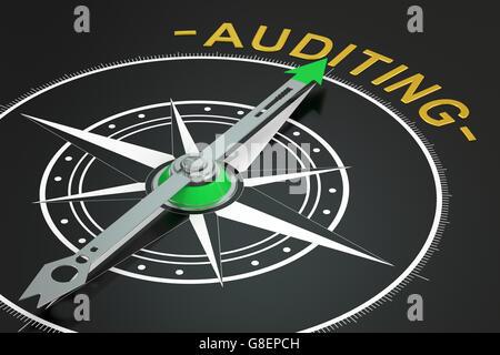 Audit-Kompass-Konzept, 3D rendering - Stockfoto
