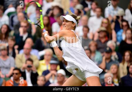 London, UK. 30. Juni 2016. AELTC Tennis Championships in Wimbledon London UK Johanna Konta GBR Vs Eugenie Bouchard - Stockfoto