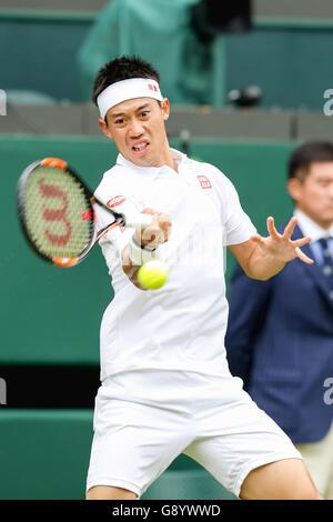 London, UK. 30. Juni 2016. Kei Nishikori (JPN) Tennis: Kei Nishikori Japans in den Männern Singles zweiten Vorrundenspiel - Stockfoto