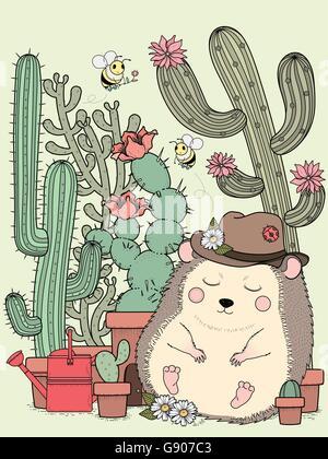 entzückende Igel mit Kaktus - Erwachsene Malvorlagen - Stockfoto