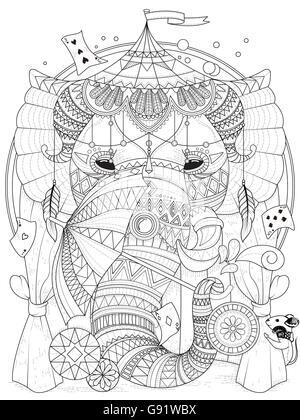Erwachsene Malvorlagen - Elefanten im Zirkus mit Zauberrequisiten ...