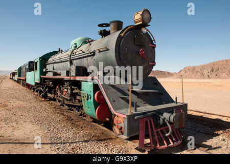 Dampflokomotive, Hejaz Railway, Wadi Rum, Jordanien, Kleinasien - Stockfoto