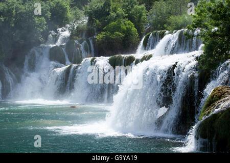 Wasserfall Skradinski Buk in Krka Nationalpark, Dalmatien, Kroatien, Europa - Stockfoto