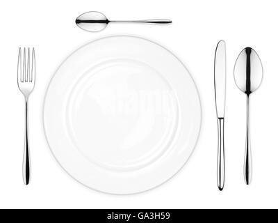 Gedeck mit leeren Schüssel Gabel Löffel und Messer isoliert auf weißem Hintergrund - Stockfoto