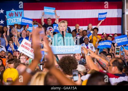 Las Vegas, Nevada, USA. 4. August 2016. Hillary Clinton Rallye in IBEW lokalen 357 Hall in Las Vegas, NV am 4. August - Stockfoto