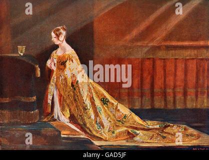 Königin Victoria in ihrer Krönung Roben, nach dem Gemälde von Charles Robert Leslie.  Victoria, 1819-1901.  Königin - Stockfoto