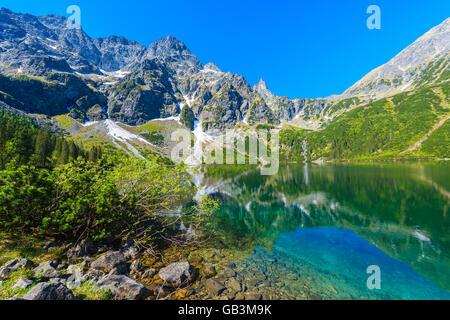 Grünes Wasser der See Morskie Oko in Sommer, Tatra-Gebirge, Polen - Stockfoto