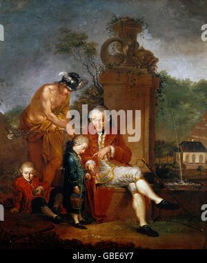 """Bildende Kunst, Zick, Januarius (1730-1797), Malerei, """"Gottfried Peter de Requile mit seinen beiden Söhnen"""" und - Stockfoto"""