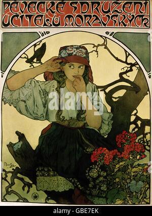 "Bildende Kunst, Mucha, Alfons, (1860-1939), Plakat, ""Pevecke Sdruzeni Ucitelu Moravskyck"" - Stockfoto"