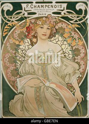 Bildende Kunst, Mucha, Alphonse (24.8.1860 - 14.7.1939), farbige Lithographie, 'Träumerei', 1897 - Stockfoto