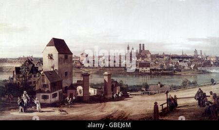 """Bildende Kunst, Bellotto, Bernardo, genannt Canaletto (1721-1780), """"Munich, gesehen von Haidhausen"""", Malerei, Öl - Stockfoto"""