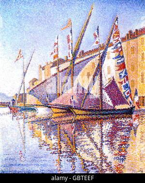 """Bildende Kunst, Signac, Paul (1863-1935), Malerei, """"Segelboote in St. Tropez Harbour"""", Öl auf Leinwand, 46 x 56 cm, 1893, Wuppertal, Von-der-Heydt-Museum, Stockfoto"""