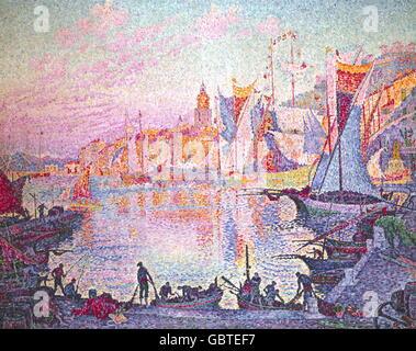 """Bildende Kunst, Signac, Paul (1863-1935), Malerei, """"den Hafen von Saint Tropez"""", Öl auf Leinwand, 131 x 161,5 cm, ca. 1901, The National Museum of Western Art, Tokyo, Stockfoto"""