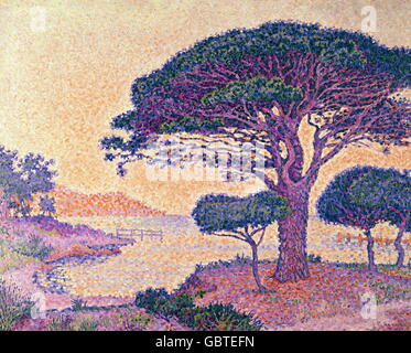 "Bildende Kunst, Signac, Paul (1863-1935), Malerei, ""Le Pin Parasol Aux Caroubiers (der Kiefer durch die Johannisbrotbäume), Öl auf Leinwand, 81 x 65 cm, 1898, Musee de Flèche, St. Tropez, Stockfoto"
