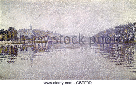Bildende Kunst, Signac, Paul, (1863-1935), Malerei, 'Seine in der Nähe von Herblay', 1883, Jeu de Paume, Paris, - Stockfoto