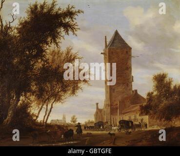 """Bildende Kunst, Ruysdael, Salomon, (ca. 1600-1670), Malerei, """"Tower Road"""", Öl auf Platte, 66,2 x 80,7 cm, Alte Pinakothek, München,"""
