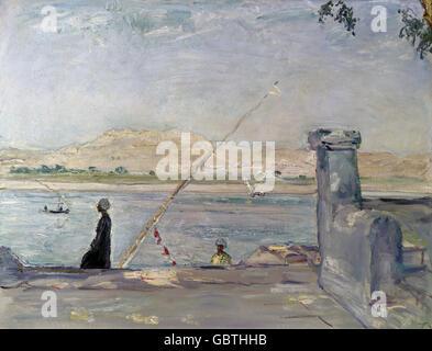 """Bildende Kunst, Slevogt, Max (8.10.1868 - 20.9.1932), Malerei, """"Morgen in Luxor"""", 1914, Staatliche Kunstsammlungen - Stockfoto"""