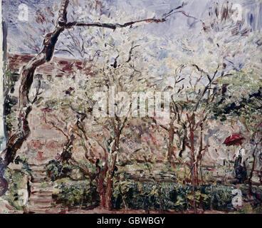 """Bildende Kunst, Slevogt, Max (1868 – 1932), Malerei, """"Frau Im Garten"""" (Frau im Garten), 1921, Privatsammlung, - Stockfoto"""