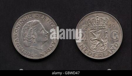 1 Gulden Münze Königin Juliana Niederlande 1971 Stockfoto Bild