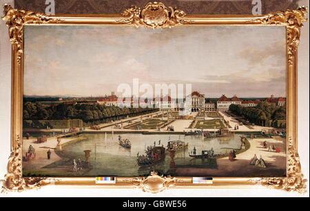 Architektur, Burgen, Schloss Nymphenburg, Ansicht von der Gartenseite, Gemälde von Bernardo Bellotto, genannt Canaletto, - Stockfoto