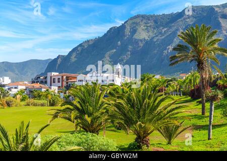 Tropische Palmen in Berglandschaft der Norden von Teneriffa mit Buenavista del Norte Stadt in Ferne, Kanarische - Stockfoto