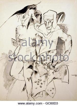 """Bildende Kunst, Campendonk, Heinrich (1889-1957), Grafik, """"Hexen"""" (""""Hexen""""), Zeichnung, 1912, Tempera, Franz Marc - Stockfoto"""