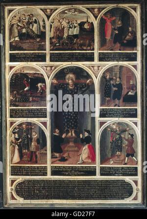 Bildende Kunst, religiöse Kunst, Malerei, 'Saint Wilgefortis mit votiv Bilder', 156 x 116 cm, Anfang des 17. Jahrhunderts, - Stockfoto
