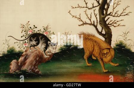 Bildende Kunst, Malerei, Hund und Katze, Aquarell auf Papier, 21 x 33 cm, einst im Besitz von Franz Marc, Franz - Stockfoto