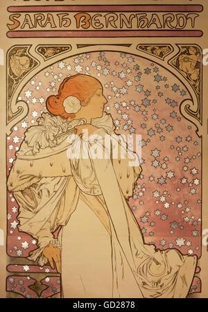 Bildende Kunst, Mucha, Alphonse (1860 - 1939), Poster, Detail von einem Plakat des Théâtre de la Renaissance, arah - Stockfoto