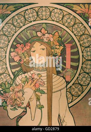 """Bildende Kunst, Mucha, Alphonse (1860 - 1939), Poster, Plakat für 'La Trappistine """"Likör, farblithographie, Paris, - Stockfoto"""