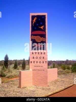 Australien-Northern Territory-Ayers Rock Ayers Rock Resort Schild - Uluru-Kata Tjuta National Park Adrian Baker - Stockfoto