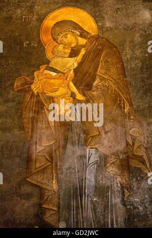 "Bildende Kunst, religiöse Kunst, fresco"" Jungfrau Maria mit dem Jesuskind"" in Chora Kirche, Kariye Muezesi, Istanbul, - Stockfoto"