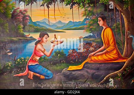 Bildende Kunst, religiöse Kunst, Thailand, Thailand, Asien, Buddhismus, Andaman Sea, Südostasien, Wat Chalong, Artist's - Stockfoto