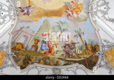 Bildende Kunst, religiöse Kunst, Deckengemälde in der Stiftskirche St. Nikolaus, Spalt, Franken, Bayern, Deutschland, - Stockfoto