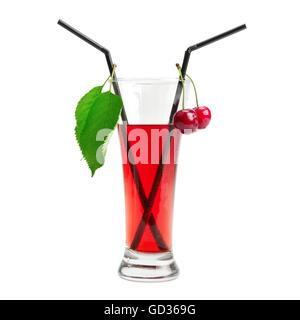 Kirsche cocktail isoliert auf weißem Hintergrund - Stockfoto