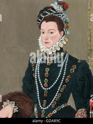 Elisabeth von Valois (1545 – 1568). Spanische Queen Consort. Die älteste Tochter von Heinrich II. von Frankreich - Stockfoto