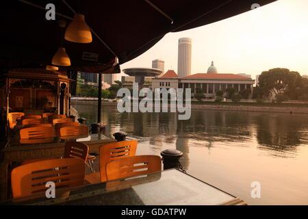 Asien, Suedost, Singapur, Insel, Staat, Stadt, Stadt, Skyline, Zentrum, Boat Quay, Bankenviertel, Restaurant, - Stockfoto