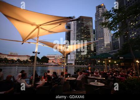 Asien, Suedost, Singapur, Insel, Staat, Stadt, Stadt, Skyline, Zentrum, Boat Quay, Bankenviertel, Nacht, Singapore - Stockfoto