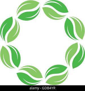 Bio isoliert Vektor-grüner Kreis-Logo. Blätter Natur Grenze. Grüne Sonne. Sommer-Design-Element. Frühling-Kunst - Stockfoto