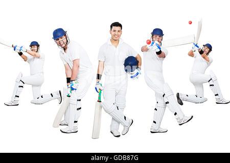 Ein indischer Sport jungen Mann Spieler schlagen Ball Cricket sport spiel - Stockfoto