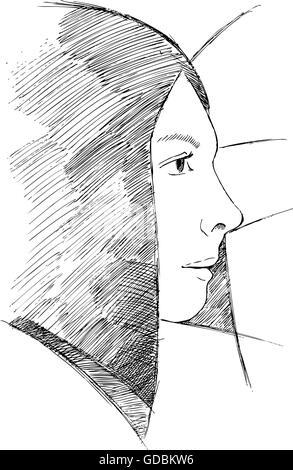 Porträt von Mädchen gezeichnete gemalten Gelschreiber. - Stockfoto