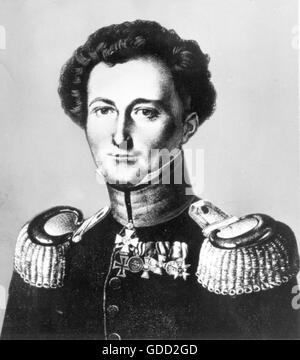 Clausewitz, Carl von, 1.6.1780 - 16.11.1831, deutscher General und militärischen Thema / Autor/Autorin, Porträt, - Stockfoto